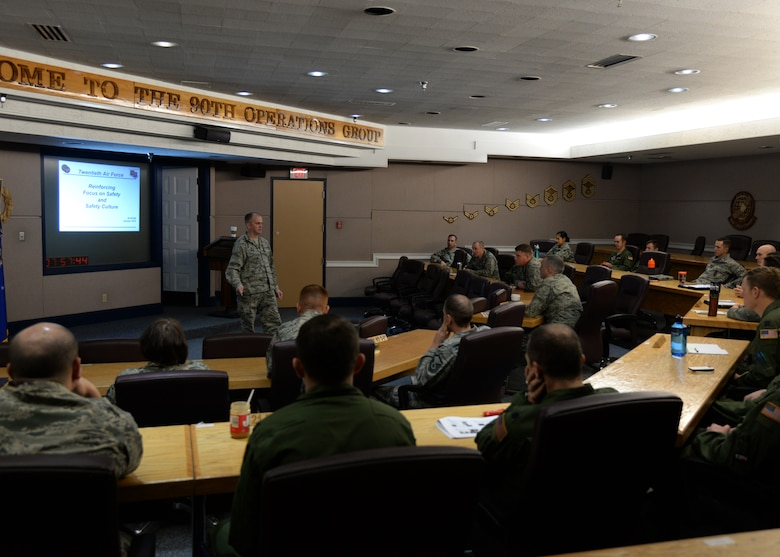 Col. Todd Sauls, 90th Operations Group commander, talks with missile operations leadership inside the 90th OG building on F.E. Warren Air Force Base, Wyo., Jan. 11, 2016, during a 20th Air Force Safety Down-Day. The down day was part of a 20th Air Force wide initiative to reinforce safety as a high priority. (U.S. Air Force photo by Airman 1st Class Malcolm Mayfield)