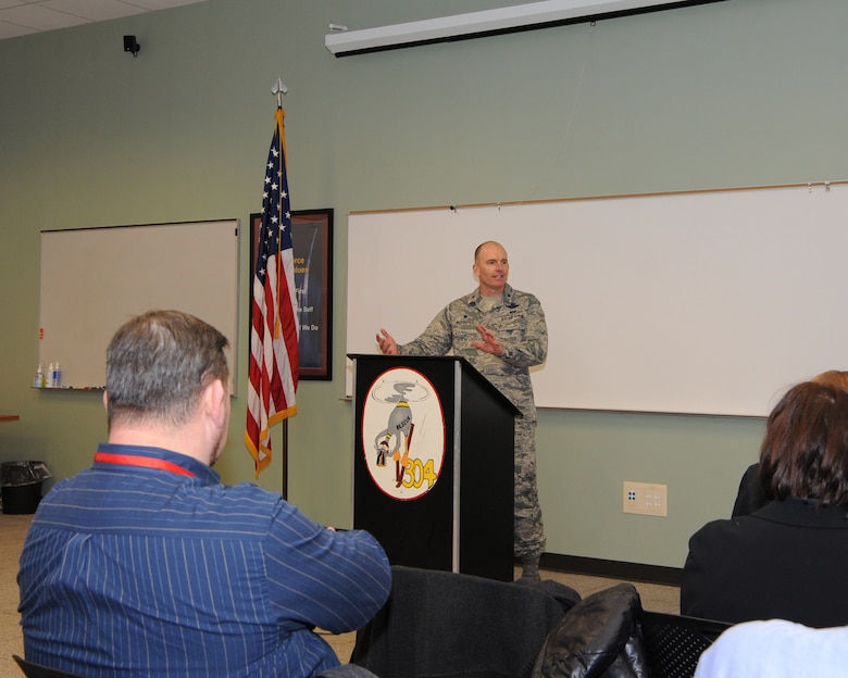 Col. Paul Fitzgerald, 142nd Fighter Wing Commander, addresses attendees at the 142nd Fighter Wing and the Port of Portland ribbon-cutting ceremony held at the Portland Air National Guard Base, Ore., 13 Jan., 2016.  The ceremony signifies the Oregon Air National Guard's return of 27 acres, 4 buildings and 52 percent of the west ramp of PDX to the Port of Portland during a ceremony (U.S. Air National Guard photo by Master Sgt. Shelly Davison, 142nd Fighter Wing Public Affairs)