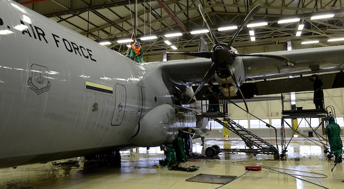 86th Maintenance Squadron Airmen wash a C-130J Super Hercules before a C-2 isochronal (ISO) inspection Jan. 4, 2016, at Ramstein Air Base, Germany. This examination marks the 14th and final C-2 ISO inspection for the 86th Airlift Wing until 2020. C-2 ISO inspections last approximately two weeks. (U.S. Air Force photo/Staff Sgt. Timothy Moore)