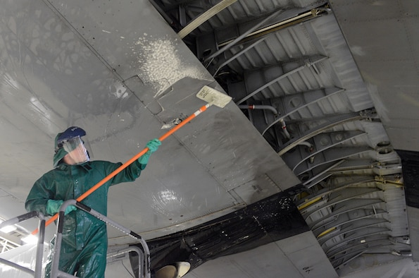 Airman 1st Class Zachary Ohannessian, 86th Maintenance Squadron crew chief, scrubs the wing of a C-130J Super Hercules Jan. 4, 2016, at Ramstein Air Base, Germany. The wash is preparation work for the aircraft's C-2 isochronal (ISO) inspection. An ISO inspection is a scheduled, extensive examination of an aircraft to maintain its functionality and perform preventive maintenance. (U.S. Air Force photo/Staff Sgt. Timothy Moore)