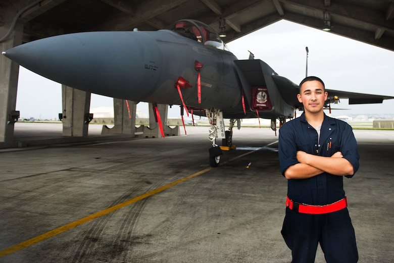 U.S. Air Force Airman 1st Class William Wright is an avionics specialist with the 67th Aircraft Maintenance Unit at Kadena Air Base, Japan. Maldonado maintains and repairs the multiple onboard systems of F-15 Eagles, a job requiring precise attention to detail since proper maintenance can mean the difference between mission success and failure. (U.S. Air Force photo by Senior Airman Omari Bernard)