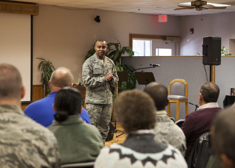 Lt. Col. Tytonia Moore, 90th Missile Wing chief of safety, speaks to wing staff personnel on F.E. Warren Air Force Base, Wyo., Jan. 11, 2016, during a 20th Air Force Safety Down-Day. The down day was part of a 20th Air Force wide initiative to reinforce safety as a high priority. (U.S. Air Force photo by Lan Kim)