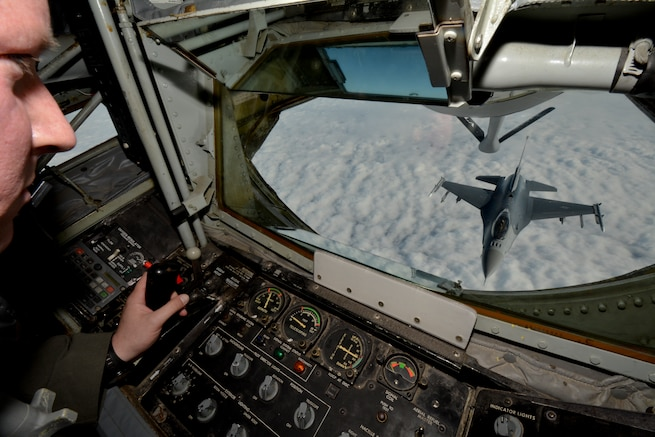An F-16C Fighting Falcon approaches the boom of a KC-135R Stratotanker for refueling over Montgomery, Ala., January 10, 2016. The mission was part of an incentive flight involing the 117th Air Refeuling Wing and the 187th Fighter Wing. (U.S. Air National Guard photo by: Capt. Jonathan Russell/Released)