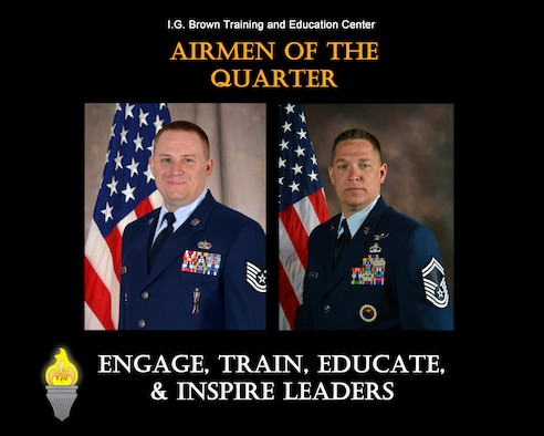 MCGHEE TYSON AIR NATIONAL GUARD BASE, Tenn. - From left, Tech. Sgt. Timothy Fry, NCO of the quarter, and Senior Master Sgt. William Britt, senior NCO of the quarter, are recognized for their outstanding service at the I.G. Brown Training and Education Center, from October to December 2015. (U.S. Air National Guard file photo illustration/Released)