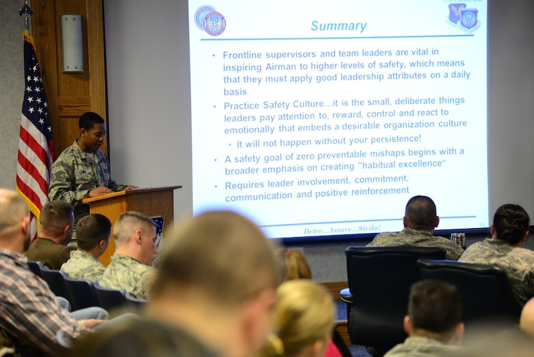 Staff Sgt. Dorian Lewis, 341st Missile Wing safety technician, gives a briefing Jan. 11, 2016, at Malmstrom Air Force Base, Mont. Lewis discussed safety topics as well as developing a safety culture within the Air Force as part of the Wing Safety Stand Down Day.  (U.S. Air Force photo by Airman 1st Class Magen M. Reeves)