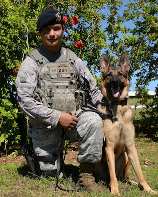Staff Sgt. Mario Rey, 36th Security Forces Squadron military working dog handler, kneels with his partner Gezu Jan. 14, 2016, at Andersen Air Force Base, Guam. Rey and Gezu were among the team members that recently responded to an incident that occurred off-base at a local high school, which involved authorities from the community as well as the K-9 unit and Explosive Ordnance Disposal flight from Andersen. (U.S Air Force photo/Senior Airman Cierra Presentado)