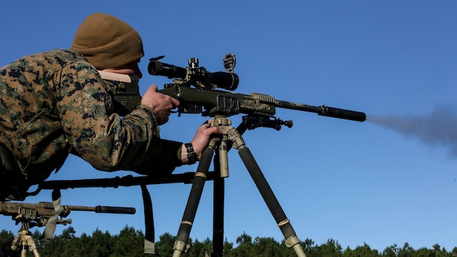 A Marine student undergoing the 2nd Marine Division Combat Skills Center Pre-Scout Sniper Course, fires on a target with the M40A5 sniper rifle at Marine Corps Base Camp Lejeune, North Carolina, Jan. 12, 2016. The three-week course is designed to prepare qualified Marines for the Scout Sniper Basic Course, and instructs them in skills such as stalking, camouflage, land navigation and marksmanship.