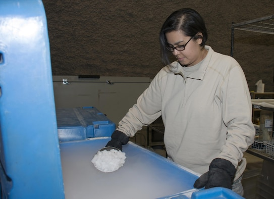 Capt. Jennifer Swann, the 379th Expeditionary Medical Group Blood Transshipment Center officer in charge, scoops out dry ice from a freezer inside the Blood Transshipment Center at Al Udeid Air Base, Qatar, Jan. 13, 2016. Dry ice is needed to keep blood cool throughout the shipping process. The facility can house more than 4,000 pounds of dry ice. The center shipped nearly 23,000 units of blood to more than 30 forward operating locations in the U.S. Central Command area of responsibility in 2015. (U.S. Air Force photo/Tech. Sgt. James Hodgman)