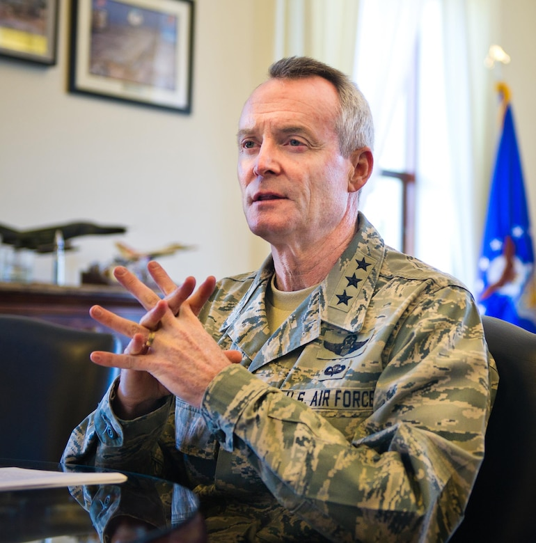 Lt. Gen. Darryl Roberson, Air Education and Training Command commander, discusses his philosophy on safety and mishap prevention during an interview at Joint Base San Antonio-Randolph, Nov. 23,, 2015. (U.S. Air Force photo by Tech. Sgt. Sarayuth Pinthong/ Released)