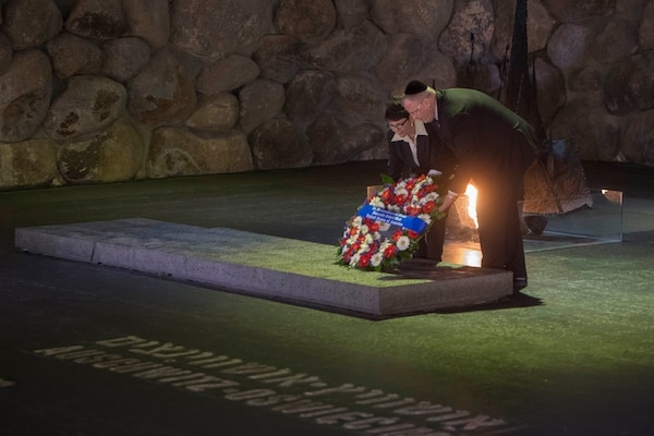 U.S. Deputy Defense Secretary Bob Work and his wife, Cassandra, take part in a wreath-laying ceremony at Yad Vashem, a living memorial to the Holocaust, in Jerusalem, Jan. 14, 2016. Work traveled to Jerusalem to meet with Israeli leaders and visit local sites. DoD photo by Navy Petty Officer 1st Class Tim D. Godbee