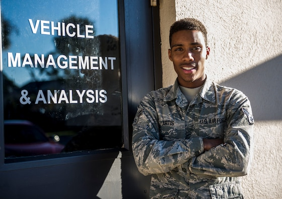 Airman 1st Class Jordan Artis, a vehicle management analysis journeyman with the 1st Special Operations Logistics Readiness Squadron, poses for a photo at Hurlburt Field, Fla., Jan. 12, 2016. Artis is in charge of the VCO program. (U.S. Air Force photo by Senior Airman Krystal M. Garrett)