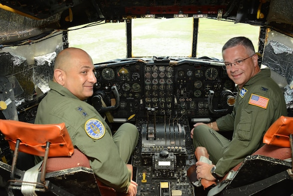 "Maj. Gen. Richard S. ""Beef"" Haddad, left, and Col. Randal L. Bright get reacquainted with the cockpit of No. 55-0014, the AC-130A gunship they flew into combat in 1991. Haddad is vice commander of Air Force Reserve Command, while Bright serves as chief of the plans division in the Air Force Reserve Command Directorate of Plans and Programs at Robins Air Force Base, Ga. (U.S. Air Force photo/Master Sgt. Chance Babin)"