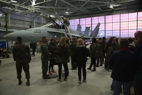 Educators from the greater Fort Lauderdale, Fla. area visit the hangar January 13, 2016, aboard Marine Corps Air Station Beaufort, S.C. The three-day workshop will give the educators a chance to experience the day-to-day routines aboard the depot and Marine Corps Air Station Beaufort, S.C. The purpose of the workshop is to give the educators a better understanding of the Marine Corps. (Official Marine Corps photo by Cpl. John-Paul Imbody)