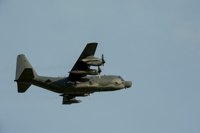A U.S. Air Force MC-130H Combat Talon II from the 1st Special Operations Squadron flies over Kadena Air Base, Japan, shortly after takeoff May 14, 2015. (U.S. Air Force photo by Senior Airman Stephen G. Eigel)
