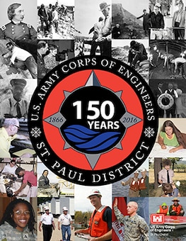 The U.S. Army Corps of Engineer, St. Paul District's 150th logo and poster in square format.