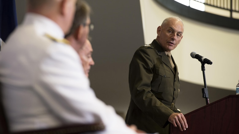 U.S. Marine Corps General John F. Kelly speaks during the U.S. Southern Command change of command ceremony at SOUTHCOM headquarters in Doral, Fla., Jan. 14, 2016. U.S. Navy Adm. Kurt W. Tidd is the new SOUTHCOM commander, succeeding Kelly.