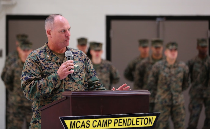 Col. Ian R. Clark, commanding officer, Marine Corps Air Station Camp Pendleton, speaks to the audience during a a ribbon-cutting ceremony to unveil a new hangar for MV-22 Ospreys here, Jan.14. (Photo by Cpl. Shaltiel Dominguez)