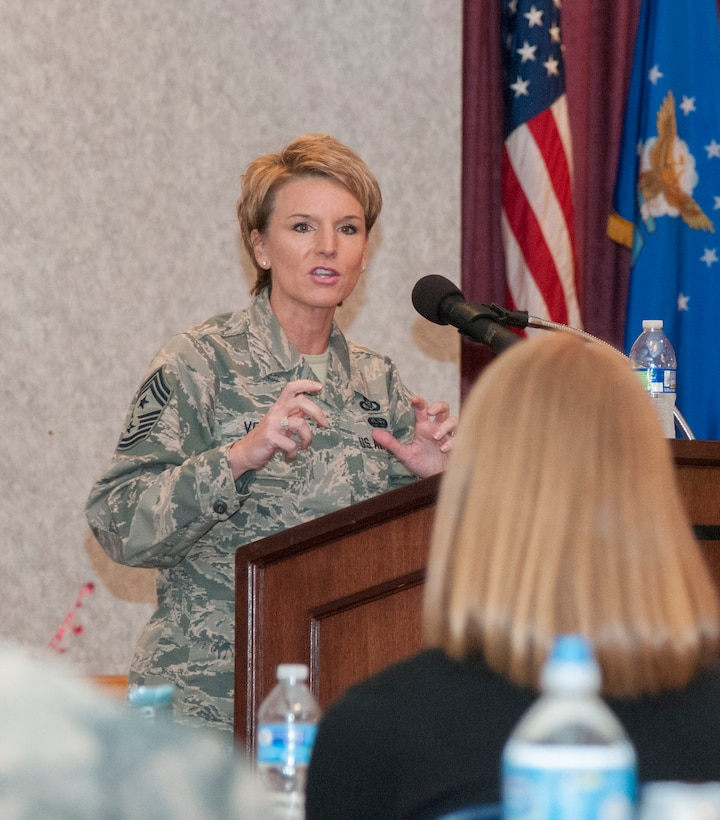 Chief Master Sgt. Gay Veale, 11th Air Force command chief, speaks to Airmen attending the 20th Air Force Women's Leadership Symposium in the F.E. Warren Air Force Base, Wyo., Trail's End Event Center Sept. 16, 2015. The WLS was one of the ICBM Center for Excellence's projects that drew scores of female Airmen to be mentored by leaders throughout the Air Force and share ideas about bettering the military experience for female Airmen. (U.S. Air Force photo by Senior Airman Jason Wiese)
