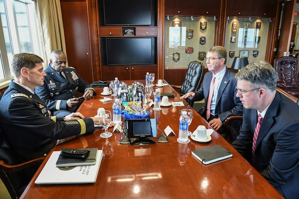 Defense Secretary Ash Carter, Army Gen. Lloyd J. Austin III, commander of U.S. Central Command, and Army  Gen. Joseph Votel, commander of U.S. Special Operations Command, meet to receive a campaign update from military leaders and to thank the men and women of both Centcom and Socom on MacDill Air Force, Jan. 14, 2016. DoD photo by Army Sgt. 1st Class Clydell Kinchen
