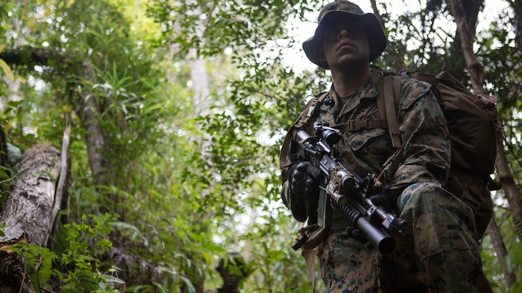Lance Cpl. Jozay Gonzalez provides security for his team as they cross a danger area Jan. 7, 2016, on Camp Hansen in Okinawa, Japan, during a three-day field training exercise. Marines with Alpha Company, Battalion Landing Team 1st Battalion, 5th Marines, 31st Marine Expeditionary Unit, conducted patrol training in which they had to locate and attack another platoon in their company. Gonzalez, a fire team leader with Alpha Co., BLT 1/5, 31st MEU, is a native of Sutter, California.