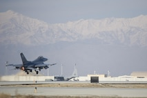 "An F-16 Fighting Falcon from the 421st Expeditionary Fighter Squadron departs on a sortie from Bagram Airfield, Afghanistan, Jan. 8, 2016. Airmen assigned to the 421st Fighter Squadron, known as the ""Black Widows,"" from Hill Air Force Base, Utah, support both Operation Freedom's Sentinel and NATO's Resolute Support mission.(U.S. Air Force photo/Tech. Sgt. Robert Cloys)"