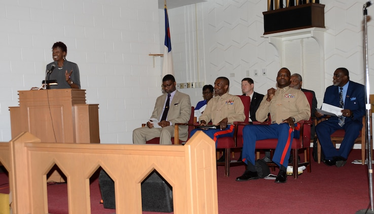 Marine Corps Logistics Base Albany officials, personnel and community guests gather at the Chapel of the Good Shepherd, Jan. 13, to commemorate the legacy of Dr. Martin Luther King Jr. The program is an annual event, which is held on the installation to celebrate the life of the slain civil rights leader and his impact on the nation.