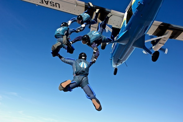 Wings of Blue team members Cadets 1st Class Jeff Herrala, Chad Sufficool,