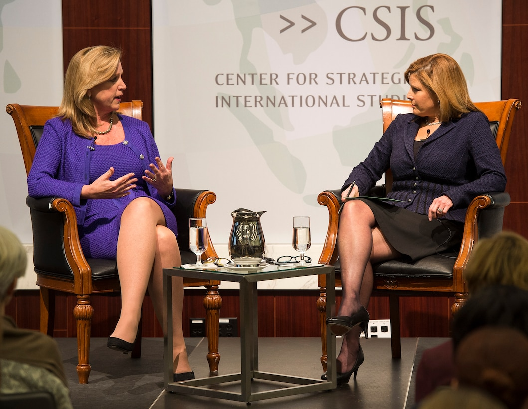 Air Force Secretary Deborah Lee James participates in a moderated discussion as part of the Center for Strategic and International Studies' Smart Women Smart Power Initiative in Washington, D.C., Jan. 14, 2015. Moderated by Nina Easton, SWSP convenes top-level women leaders to discuss critical and timely issues in their respective fields, reflect on their professional experiences and share ideas and insights. (U.S. Air Force photo/Jim Varhegyi)