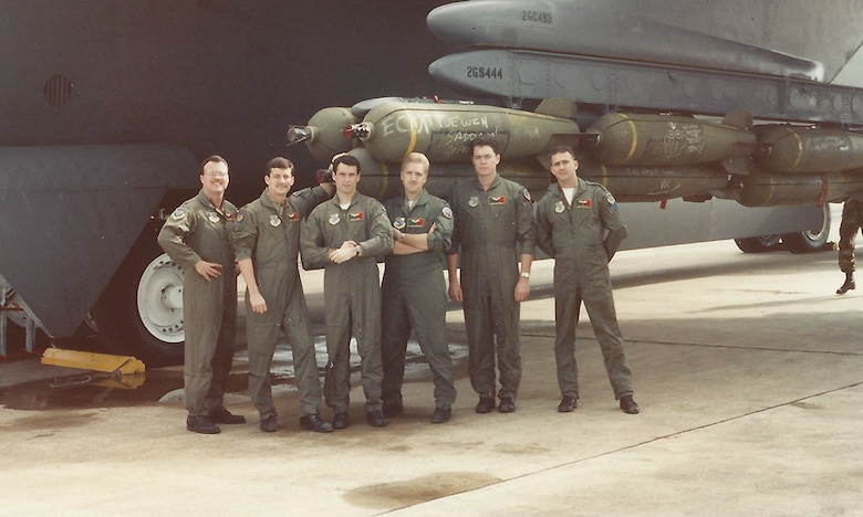 "Warren Ward, second to left, served as a B-52G co-pilot on a top secret mission nicknamed ""Secret Squirrel,"" the first bombing mission of Operation Desert Storm. The operation marked the first use of conventional air-launched cruise missiles in combat. The crew returned to Barksdale in a single sortie and with a few day's rest, Ward was called back to duty and continued flying the B-52 throughout Operation Desert Storm. Today, Air Force Global Strike Command air crews remain ready to execute the mission on a moment's notice just as they were ready 25 years before. The B-52, along with the B-2  and ICBM forces, remains an important part of the nuclear triad. (Courtesy photo)"
