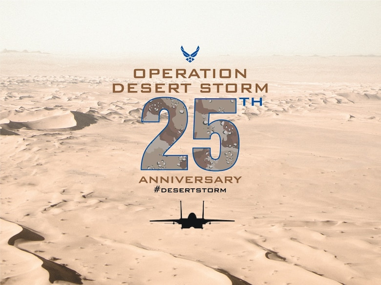 Operation DESERT STORM began the evening of January 17, 1991. Airmen and F-15E Strike Eagle aircraft from the 335th and 336th Fighter Squadrons deployed to defeat Saddam Hussein's forces. (U.S. Air Force graphic)