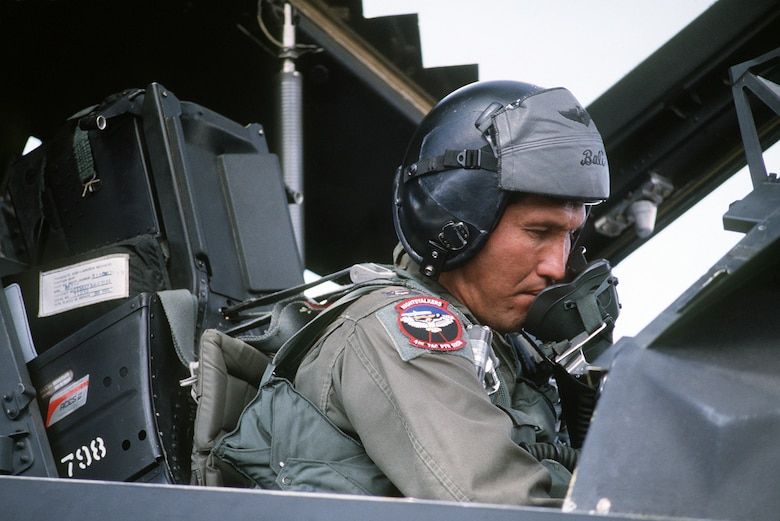 U.S. Air Force Maj. Joe Bowley, a pilot with the 37th Tactical Fighter Wing sits in the cockpit of a U.S. Air Force F-117A Nighthawk stealth fighter aircraft while getting ready for the flight home after Operation Desert Storm. The attacks during Operation Desert Storm neutralized over 700 Iraqi combat aircraft and heavily damaged critical military support networks including command and control centers, communications and intelligence capabilities, integrated air defenses and power generation centers. (U.S. Air Force Courtesy Photo)