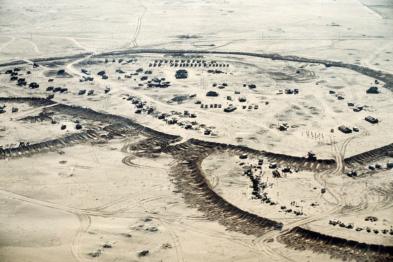 An aerial view of an Allied military encampment during Operation Desert Storm. Over 670,000 troops from 28 countries supported this phase of the Persian Gulf War, making it the largest air campaign since the conflict in Southeast Asia. (U.S. Air Force Courtesy Photo)