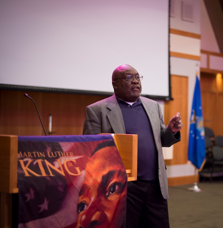 Reverend John Reynolds, civil rights leader, speaks to Airmen and Sailors during a Martin Luther King Jr. Day Celebration event Jan. 15, 2016, at the Chapel Annex on Joint Base Charleston – Air Base, S.C. Reynolds was the guest speaker for the event and talked about his memories of working alongside King and how things have came to be with his views that changed the world. (U.S. Air Force photo/Senior Airman Clayton Cupit)