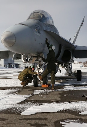 Maintainers with Marine All-Weather Fighter Attack Squadron (VMFA) 224 work on an F/A-18D Hornet at Chitose Air Base in Hokkaido, Japan, Jan. 14, 2016. VMFA (AW)-224, homebased at MCAS Beaufort, S.C., is temporarily based in Iwakuni on a unit deployment program and deployed to Northern Japan to participate in the Chitose Aviation Training Relocation Exercise Jan. 12-22. During the exercise, the squadron conducted dissimilar air combat training with and against the Japan Air Self-Defense Force to further support combined interoperability and Pacific theater security cooperation.