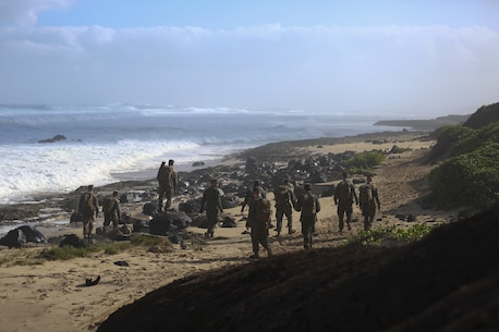 U.S. Marines assigned to 3rd Squad, 1st Platoon, 2nd Battalion, 3rd Marine Regiment, search for debris of two CH-53E Super Stallion helicopters along the coast of Haleiwa, Hawaii, Jan. 16, 2016. The Marines with 2nd Battalion, 3rd Marines are covering the whole north point of the island to determine the field of dispersion of the debris. (U.S. Marine Corps photo by Cpl. Aaron S. Patterson)