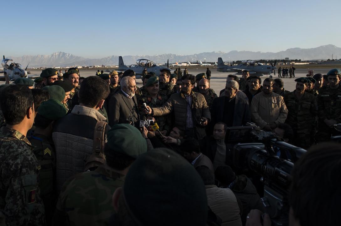 The Minister of Defense for Afghanistan, Mohammad Massom, addresses members of the Afghan air force and Afghan national media after the delivery of four A-29 Super Tucanos to the Afghan air force at Hamid Karzai International Airport, Afghanistan, Jan. 15, 2016. The A-29 Super Tucano is a 'light air support' aircraft capable of conducting close air support, aerial escort, armed overwatch and aerial interdiction. Designed to operate in high temperature and in extremely rugged terrain, the A-29 Super Tucano is highly maneuverable 4th generation weapons system capable of delivering precision guided munitions. It can fly at low speeds and low altitudes, is easy to fly, and provides exceptionally accurate weapons delivery. It is currently in service with 10 different air forces around the world. (U.S. Air Force photo by Tech. Sgt. Nathan Lipscomb)
