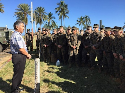 Governor of Hawaii, David Ige, addresses the Marines of 2nd Battalion, 3rd Marine Regiment, thanking them for their search efforts and sending his aloha on Jan. 16, 2016. Monday marks the fourth day of the search and rescue efforts for the 12 missing Marines of HMH-463.