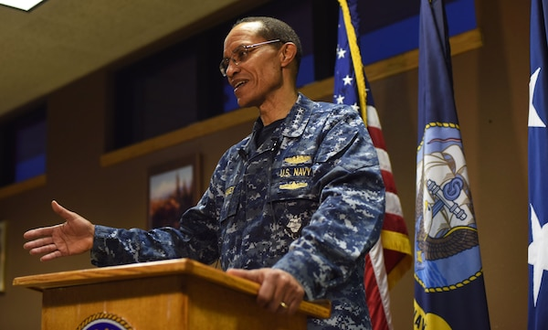 U.S. Navy Adm. Cecil D. Haney, U.S. Strategic Command (USSTRATCOM) commander, addresses local media after a base-wide all call at Malmstrom Air Force Base, Mont., Jan. 14, 2016. During his visit there, Haney had breakfast with Airmen; toured the security forces, missile maintenance and other facilities; and conducted a base-wide all call to discuss USSTRATCOM's mission areas and priorities and Malmstrom's vital role in deterrence and assurance. He also thanked the men and women at Malmstrom for their efforts in providing the nation with a safe, secure, effective and ready nuclear deterrent. One of nine DoD unified combatant commands, USSTRATCOM has global strategic missions, assigned through the Unified Command Plan, which include strategic deterrence; space operations; cyberspace operations; joint electronic warfare; global strike; missile defense; intelligence, surveillance and reconnaissance; combating weapons of mass destruction; and analysis and targeting. (U.S. Air Force photo by Airman Collin Schmidt)