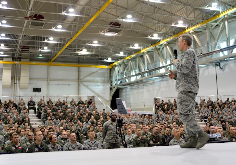 Gen. Hawk Carlisle, commander of Air Combat Command, briefs Airmen from the 432nd Wing/432nd Air Expeditionary Wing Jan. 14, 2016, during his visit to Creech Air Force Base, Nevada. During the all-call, Carlisle recapped the findings of the Culture and Process Improvement Program, an initiative which studied challenges within the remotely piloted aircraft enterprise. He also explained the measures the Air Force is taking to alleviate the problems. (U.S. Air Force photo by Senior Airman Christian Clausen/Released)