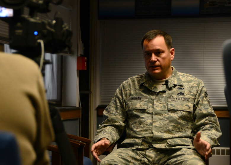 Chief Master Sgt. Clint Ronan is interviewed by Erie Community College at Niagara Falls Air Reserve Station, January 9, 2016. Ronan was providing this interview as a recipient of  ECC's 2016 Distinguished Alumni Award. (U.S. Air Force photo by Staff Sgt. Richard Mekkri)