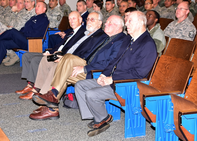Members of the Rhode Island Society of the Founders and Patriots at a ceremony at Quonset Air National Guard Base, North Kingstown, Rhode Island on December 5, 2015 honoring the 143d Civil Engineering Squadron. Photo by Tech Sgt Jason Long