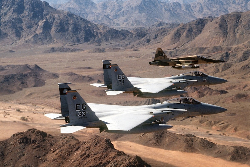F-15C Eagles fly over Kuwait