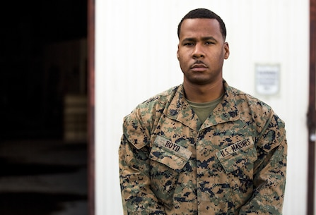 Sgt. Raheem Boyd, a heavy equipment operator with Special-Purpose Marine Air-Ground Task Force Crisis Response-Africa received an American Hero Award aboard Morón Air Base, Spain, Dec. 23, 2015. Boyd, a Birmingham, Alabama native, was recognized for his courageous actions saving another Marine's life, May, 2015 aboard Camp Lejeune, N.C. (U.S. Marine Corps photo by Staff Sgt. Vitaliy Rusavskiy/Released)