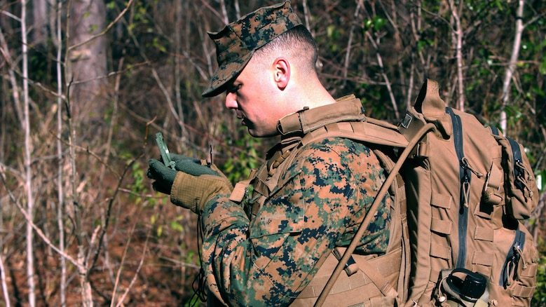 Lance Cpl. Joshua B. Gilmore sets his azimuth to the next point during a land navigation course at Marine Corps Air Station Cherry Point, N.C., Jan. 13, 2016. During the 19-point course, 20 Marines with Marine Wing Support Squadron 274's Engineer Company, Heavy Equipment Platoon headed to the field to re-experience the basic land navigation process. The course was a refresher for most of the Marines, who have not used land navigation since Marine Combat Training. Gilmore is an engineer equipment operator with MWSS-274.