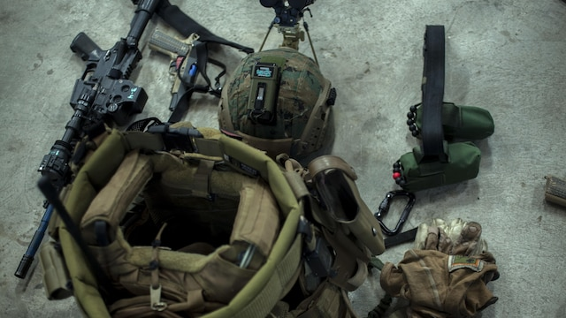 The gear of a Marine with Maritime Raid Force, 31st Marine Expeditionary Unit, sits out ready to be used during Realistic Urban Training Exercise on Guam, Jan. 13, 2016. RUTEX is a high-intensity close-quarter battle training exercise conducted in an actual urban environment to provide a high degree of realism to the training. The exercise is part of the MRF's pre-deployment training before their upcoming deployment with the 31st MEU.