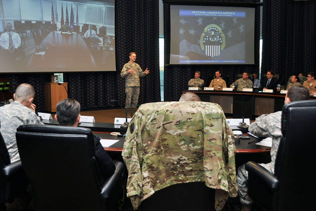 Air Force Brig. Gen. Mark McLeod, Defense Logistics Agency Energy commander, addresses the audience during his opening remarks at the 15th annual Joint Petroleum Seminar at the McNamara Headquarters Complex at Fort Belvoir, Virginia, Jan. 11.
