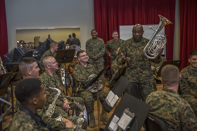 Sergeant Major of the Marine Corps, Sgt. Maj. Ronald L. Green visited the Marine Corps Band New Orleans at Marine Corps Support Facility New Orleans, Jan. 20, 2015. Green shared his experiences with the band about his past as a musician and commended them on their stellar performance. Green also discussed the 'Protect What You've Earned' campaign, urging Marines to protect what they've earned as a Marine, and to continue to uphold the standards of the Corps on and off duty.