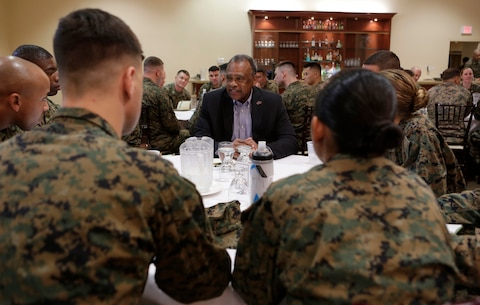 CAMP PENDLETON, Calif. -- Officers participate in a Senior Leadership Mentorship Seminar at the Pacific Views Event Center on Camp Pendleton Jan.19, 2016. The annual seminar was hosted by the National Naval Officers Association (NNOA) and provided junior officers with the opportunity to ask questions regarding career advancement and personal development to senior officers. (U.S. Marine Corps Photo by Pfc. Emmanuel Necoechea/ Released)