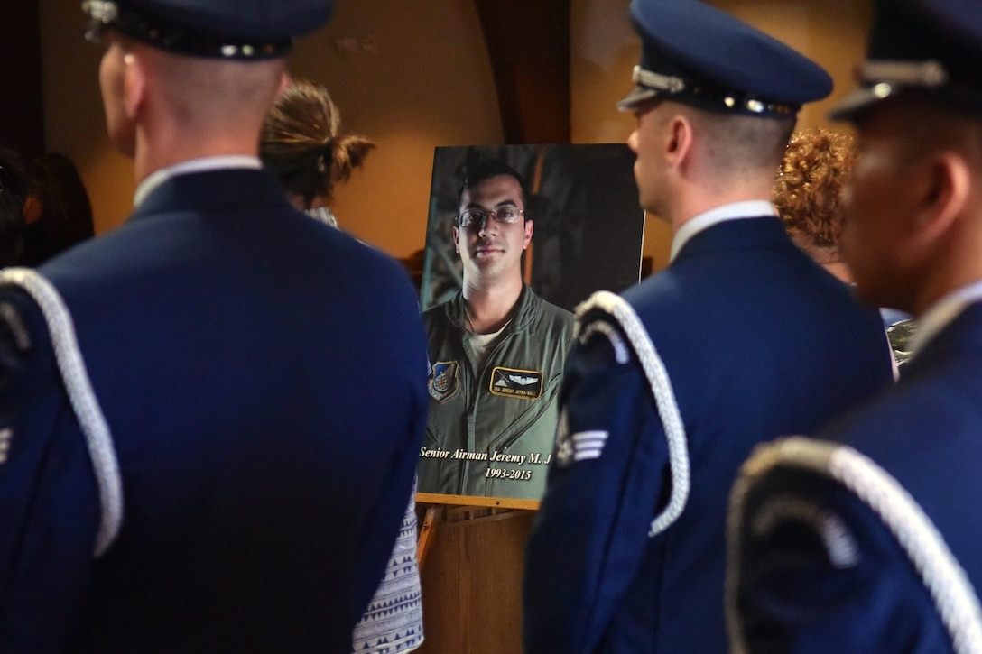 Memorial services were held Tuesday, Jan. 20, 2016, at Mililani Mortuary Mauka Chapel, celebrating the life of Senior Airman Jeremy M. Jutba-Hake. Jutba-Hake, 22, of Waianae Hawaii, graduated from Kapolei High School in 2011, and joined the Air Force later that year in December. He is survived by his parents, Jonathan and Eva Hake of Kapolei, Hawaii. (U.S. Air Force photo by Staff Sgt. Christopher Stoltz/Released)