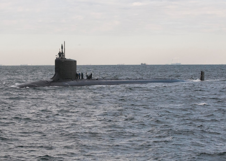 151222-N-ED185-014 TOKYO BAY (Dec. 22, 2015) The Virginia-class fast-attack submarine USS Texas (SSN 775) transits Tokyo Bay before arriving at Fleet Activities Yokosuka. Texas is visiting Yokosuka as a part of a scheduled port visit. (U.S. Navy photo by Mass Communication Specialist 2nd Class Brian G. Reynolds/Released)